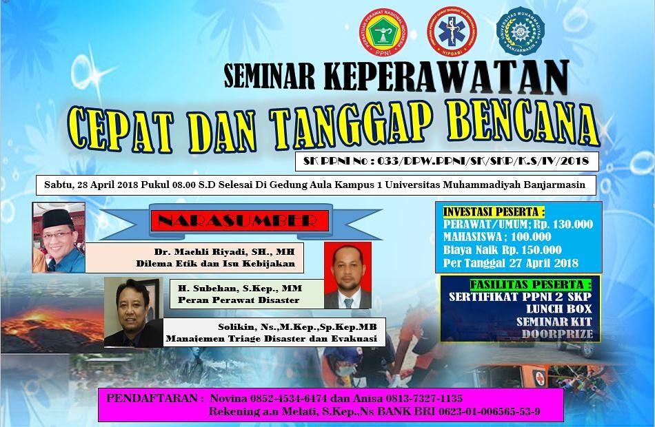 Poster SEMINAR DISASTER KEPERAWATAN 2018 -  CEPAT DAN TANGGAP BENCANA